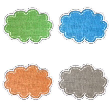 Sticker and banner  icon  tag  in fabric style on white background.