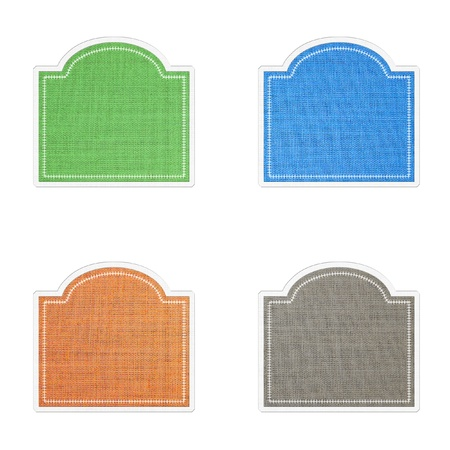 Sticker and banner  icon  tag  in fabric style on white background  Stock Photo - 13802447