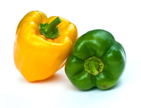 fresh sweet green and yellow paprika. ( pepper ) isolated on white background. photo
