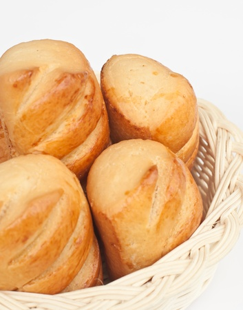 delicious  bread on wood basket. photo