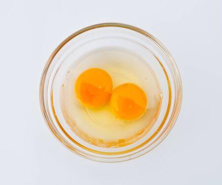 Chicken egg yolk on the disk  photo