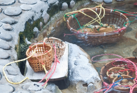 boiled eggs in the baskets at hot spring