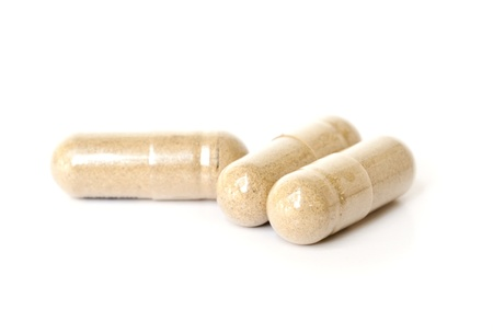 alternative medicine: Herbal Drug . an alternative medicine in capsule. Stock Photo