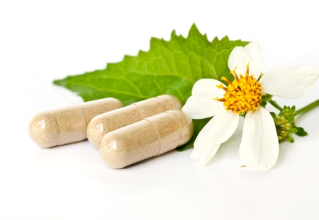 Herbal Drug . an alternative medicine in capsule. photo