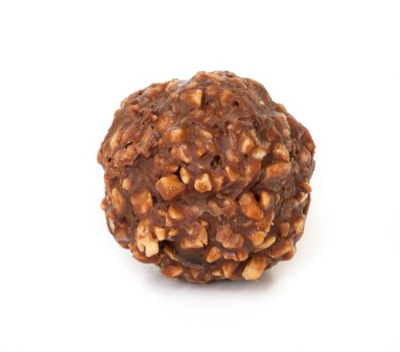 Chocolate ball with almond on white background. photo