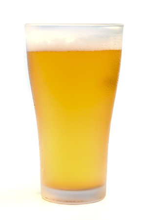 Glass of light beer isolated on a white background. photo