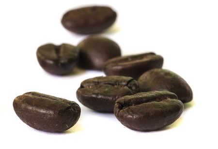 closeup of coffee beans seed  on white background  photo