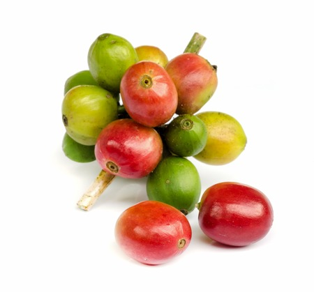 red ripe coffee beans isolated on white background. Banque d'images