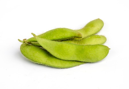 Green soybeans isolated on a white . photo