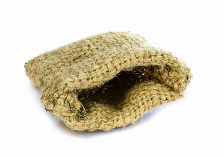 Empty burlap sack isolated on white . photo