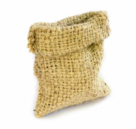 Empty burlap sack isolated on white background. photo