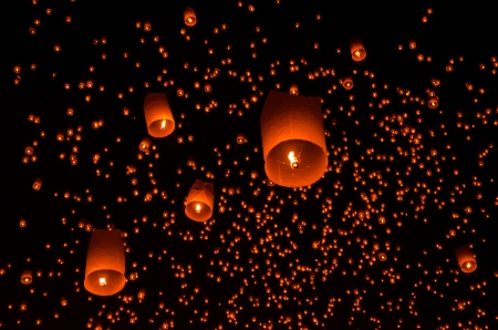 Floating lantern in Yee Peng festival, Buddhist floating lanterns to the Buddha  in Sansai district, Chiang Mai, Thailand. photo