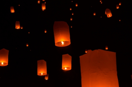Floating lantern in Yee Peng festival, Buddhist floating lanterns to the Buddha  in Sansai district, Chiang Mai, Thailand. Stock Photo