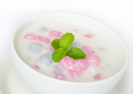 Bua Loi , Thai dessert with colorful ball flour and coconut milk. photo