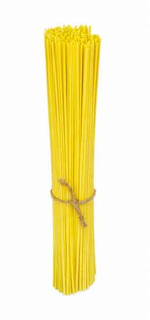 uncooked italian spaghetti Noodles on white background .