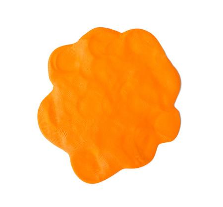 Orange  plasticine texture on white background