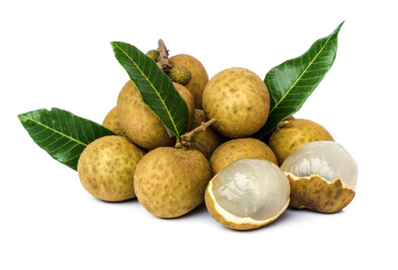 flesh colour: Close up of longan  fruit on a white background