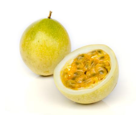 Ripe passion fruit  isolated on white background. Stock Photo
