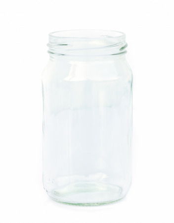 colorless: Empty colorless glass container isolated on white background. Stock Photo