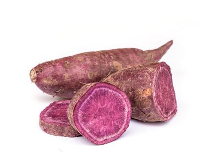 Sweet purple potato isolated on white background.