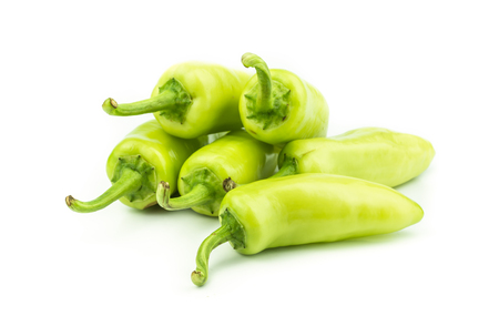 capsaicin: green chili pepper  isolated on  white background .