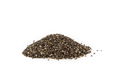 Healthy Chia seeds isolated on white background.