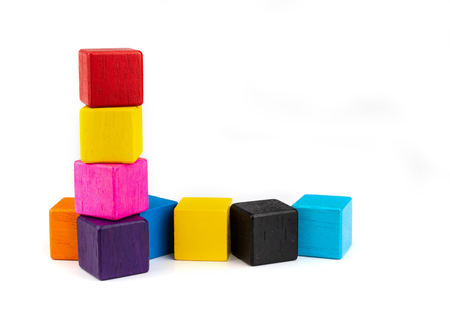 toy blocks, colorfull wooden blocks stack isolated white background. Reklamní fotografie - 103993757