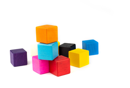toy blocks, colorfull wooden blocks stack isolated white background.