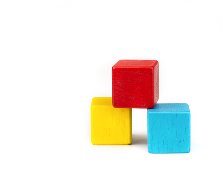 toy blocks, colorfull wooden blocks stack isolated white background. Reklamní fotografie - 103993820