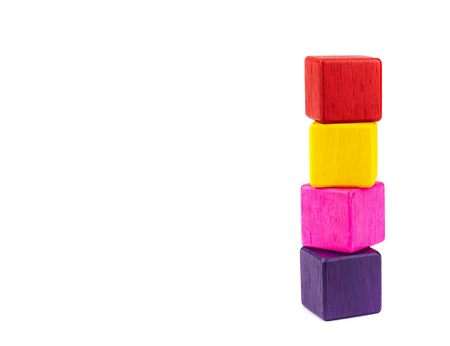 toy blocks, colorfull wooden blocks stack isolated white background. Reklamní fotografie - 103993823