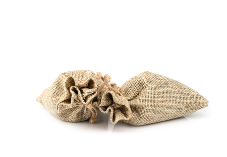 Burlap gift sack isolated on white background. Reklamní fotografie - 111017891