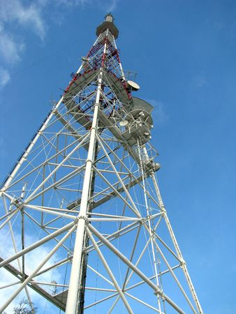 big teletower on the blue sky background Stock Photo