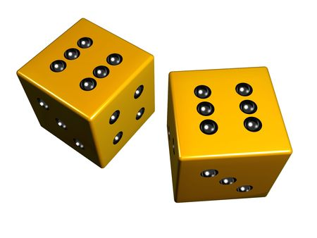 Golden dice created with 3d studio max & rendered.