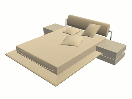 Modern bed created with 3d max & rendered Stock Photo