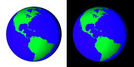 Rendered 3d model of Earth on black fyl white background photo