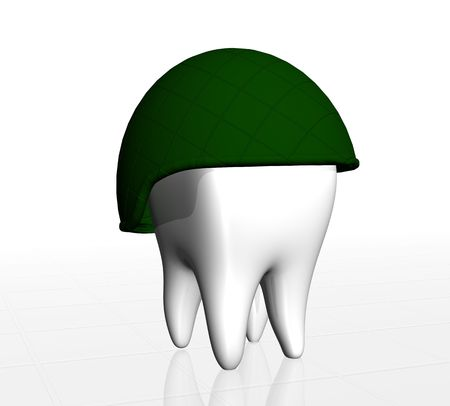 Human tooth protected by army helmet