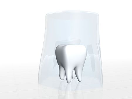 Human tooth covered with glass