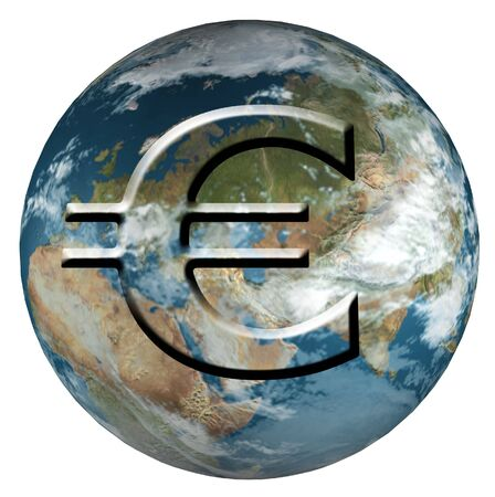 money cosmos: Earth With Euro Stock Photo