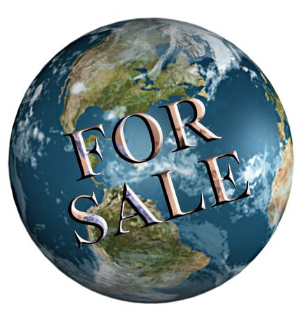 Earth for sale on white background photo