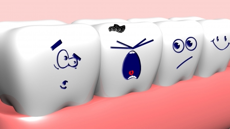 tooth decay: Crying damaged tooth and healthy teeth near it