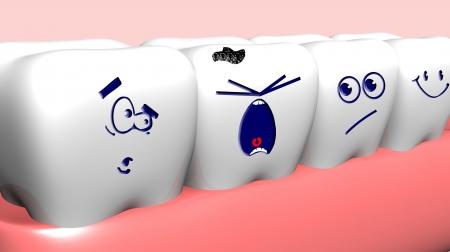 muela: Crying diente da�ado y los dientes sanos cerca de �l Foto de archivo