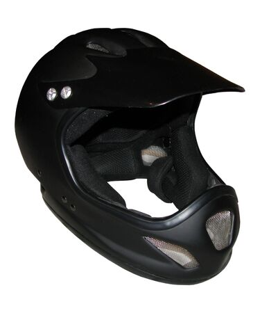Clear photo of black Cycle fullface helmet Stock Photo