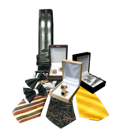 Isolate photo of a collection of male fashion accessories