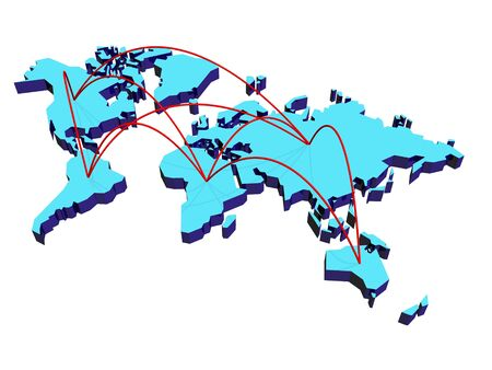 World map with lines, which connecting materics. Stock Photo - 5918689