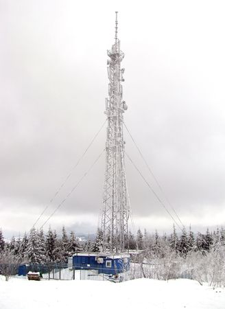 Frosted teletower on the top of the mountain Stock Photo