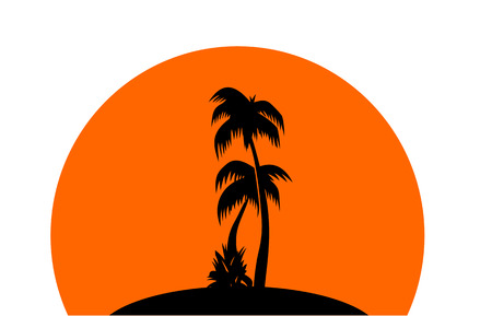 tropics: Silhouettes of palm trees on the orange background