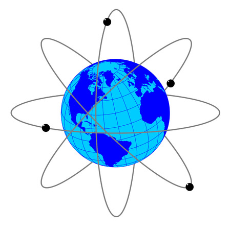 Vector illustration of Earth with satellites and their orbits on white background