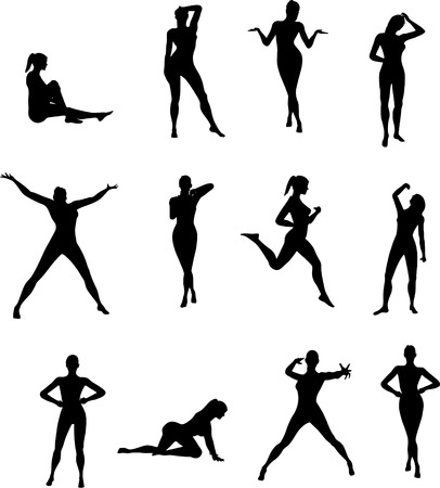 Couple vector silhouettes of girl (black)