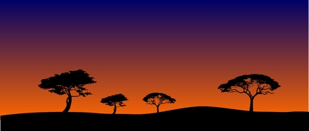 typically: Silhouettes of savanna trees in sunset Illustration