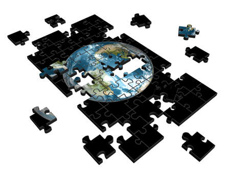 Pieces of puzzle with image of Earth. 3d illustration Stock Photo